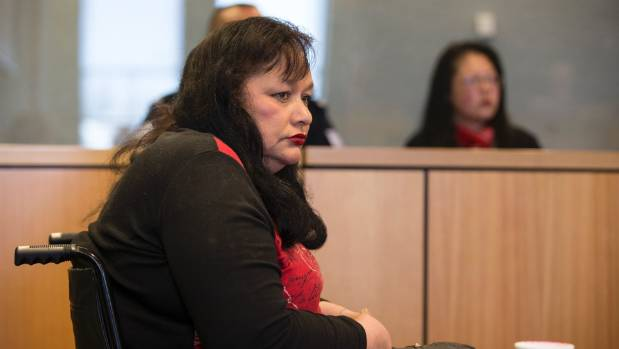 Luana Taylor, pictured in the dock in the High Court at Auckland, is charged with failing to protect a vulnerable adult.