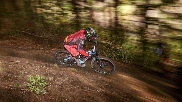 Loui Harvey in action during race two of the Nelson Mountain Bike Club's downhill winter series at Maitai Face.