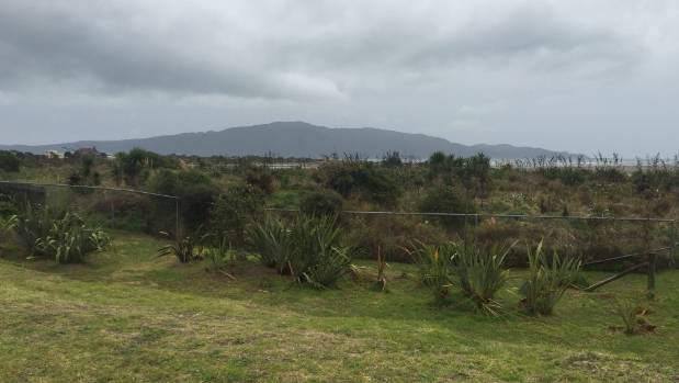 The view across stage four of the Kotuku Parks subdivision towards Kapiti Island. Behind the fence is the Waikanae ...