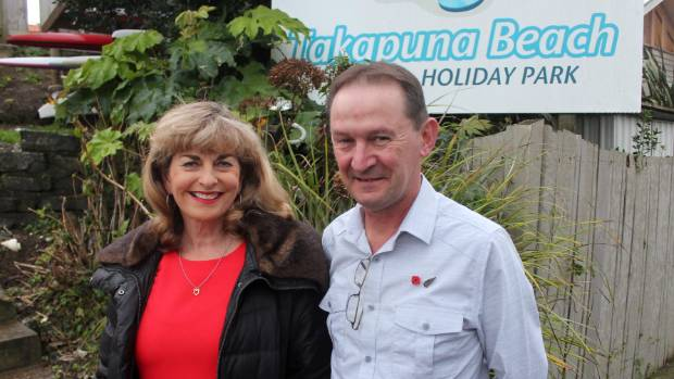 Save Takapuna Beach Holiday Park organisers Jan Gopperth and Gavin Sheehan outside the Takapuna reserve land site they ...