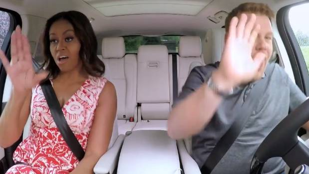 Michelle Obama rocking out to Beyonce in Carpool Karaoke with James Corden.