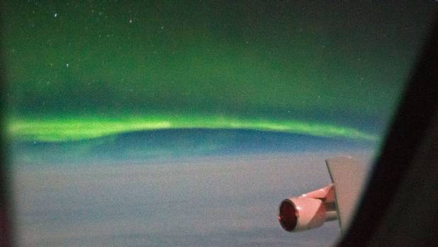 A vivid display of the Aurora Australis, seen from Nasa's flying observatory Sofia on a night flight out of ...