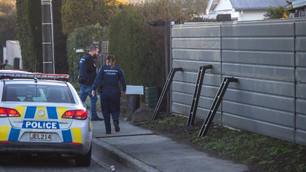 Police appeared to have used ladders to scale the fence around the perimeter of the gang pad.