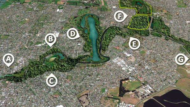 Where the river park projects might go: Urban Farm (a), Heritage Park (b), EdenNZ (c), Rowing Lake (d), Food Growing ...