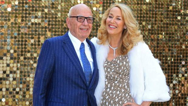 Lachlan's father Rupert Murdoch and step-mother Jerry Hall at the world premiere of  the Absolutely Fabulous movie.