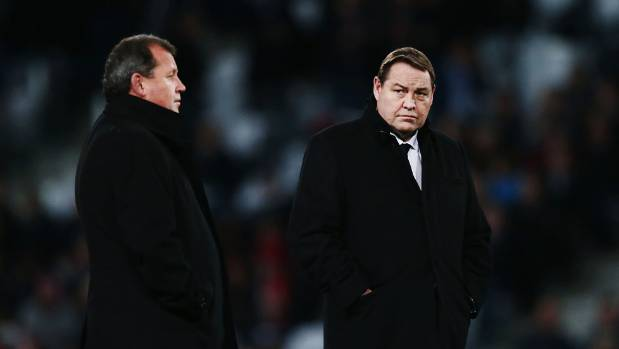 All Blacks coaches Steve Hansen, right, and Ian Foster welcome a touch examination from Australia. Photo: GETTY IMAGES.