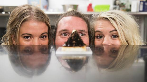 Jessica Mentis, Matt Torr and Harriet Beex prepare to take their jelly dining experience to Australia.