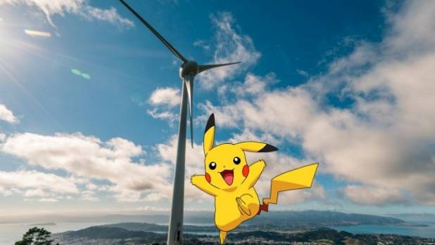 Augmented reality overlays Pokemon characters, like Pikachu, against the real world via players' smartphone cameras.