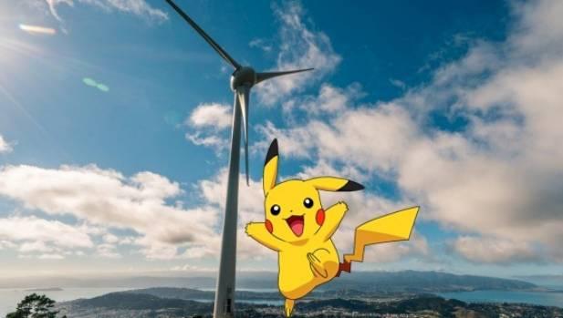 Pikachu from Pokemon Go at Wellington's Brooklyn turbine.
