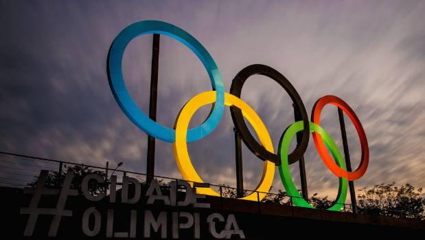 View of the Olympic rings placed at Madureira Park in Rio de Janeiro.