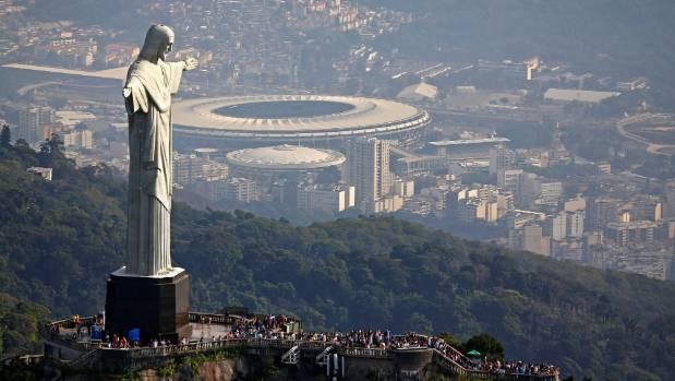 An aerial view shows Christ the Redeemer atop the Corcovado mountain in Rio de Janeiro.