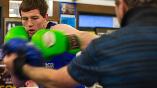 Sam Watt training at the Papanui Boxing Club.