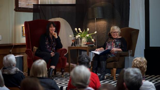 Rachael King, left, speaks at the Marlborough Book Festival at the Blenheim Club, interviewed by master of ceremonies ...