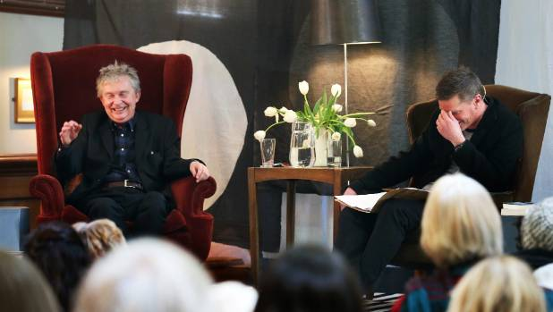 Steve Braunias, left, is interviewed by journalist Mike White at the Blenheim Club.