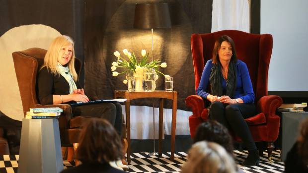 Tessa Nicholson, left, and author Charlotte Grimshaw at the Blenheim Club.