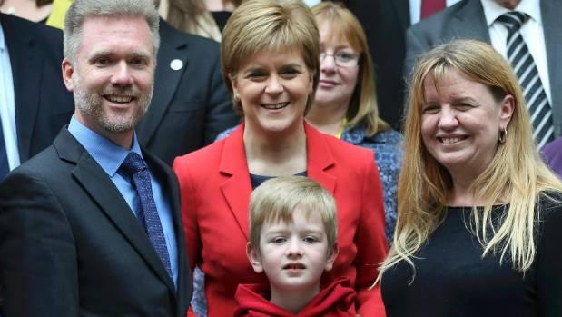 Gregg, Kathryn and Lachlan Brain meet Scotland's First Minister Nicola Sturgeon (centre).