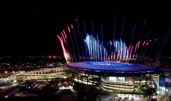 Fireworks explode above the Maracana stadium during the rehearsal of the opening ceremony of the Olympic Games.