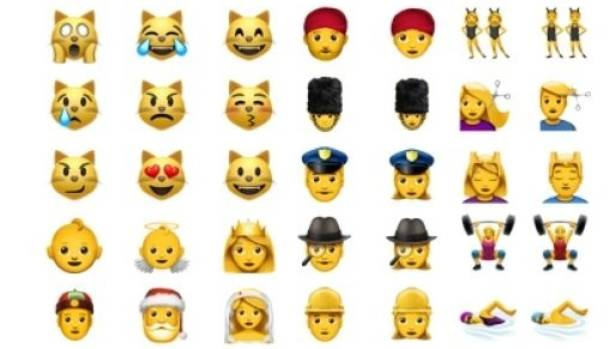 Some of the newer and redesigned emoji on Apple platforms.