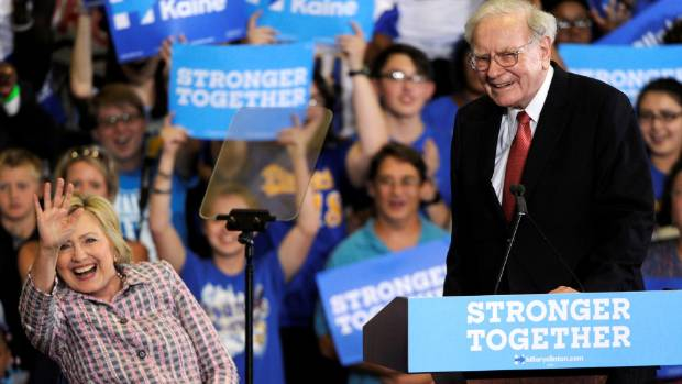 "Warren Buffett threw down the gauntlet Monday in Omaha, challenging Donald Trump to release his tax returns ""anytime, ..."