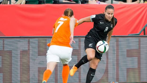 Jasmine Pereira in action for New Zealand at the 2015 Fifa Women's World Cup in Canada.
