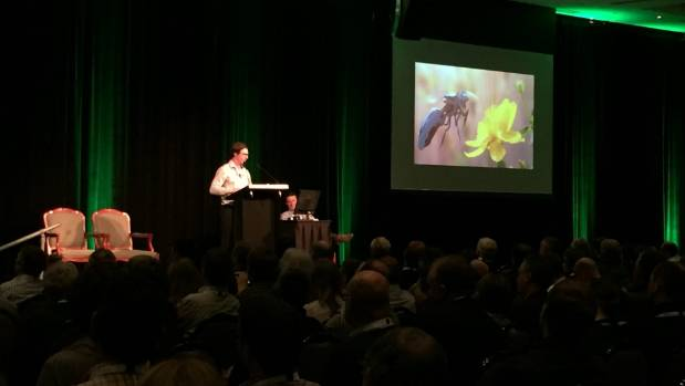 New Zealand Young Grower of the Year Hamish Gates talks about drone technology at the New Zealand Horticulture ...