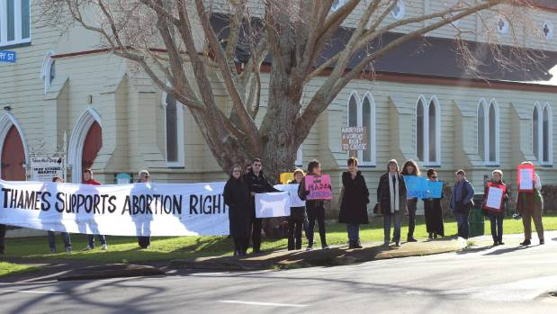 Pro-choice demonstrators gather on the corner of Mary and Mackay Streets, near Thames Hospital.
