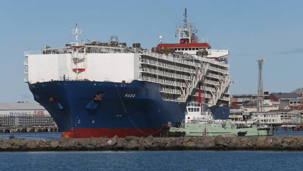 Livestock carrier Nada leaves the Port of Timaru with 50,000 lambs and 3000 cattle in 2015.