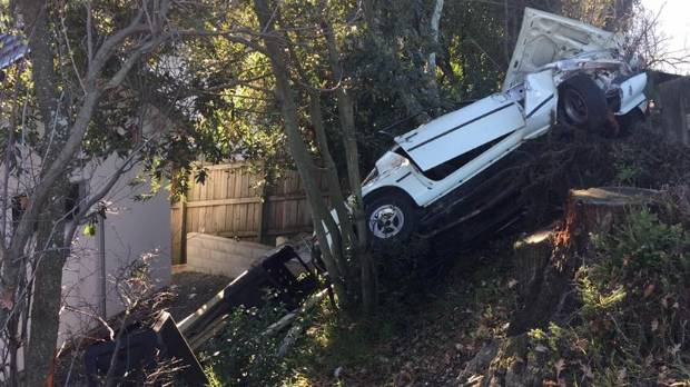 A boy racer's car crashed near MP Nick Smith's house in Nelson.