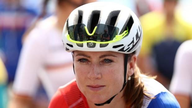 Annemiek van Vleuten on the start line in Rio before crashing heavily while leading the women's road race.
