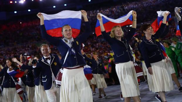 Russia's team arrives for the opening ceremony.