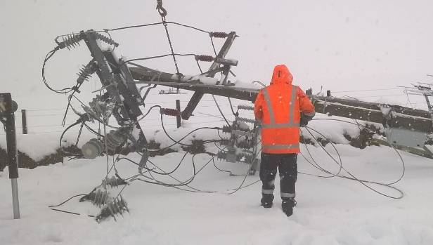 A fallen power line in the Taupo Plains area.