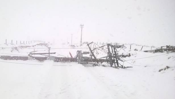 Hundreds of power poles were brought down when the blizzard hit the Taupo plains.