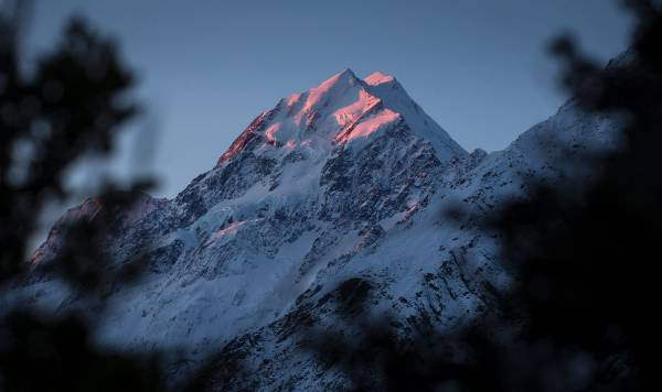 The last of the evening light on Aoraki/Mt Cook.
