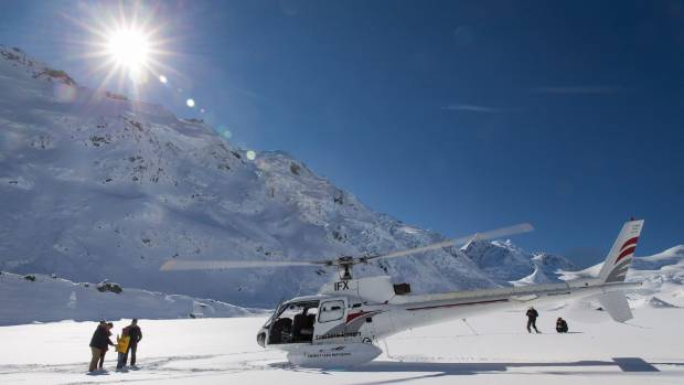 A Heliworks Squirrel AS-350 on Tasman Glacier.