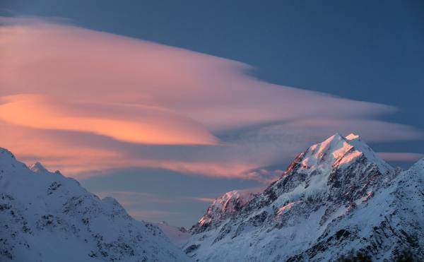 Sunset over Aoraki/Mount Cook.