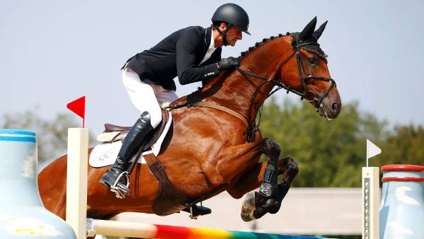 Mark Todd rides Leonidas II in the showjumping leg of the three-day eventing equestrian competition at the Rio Olympics.