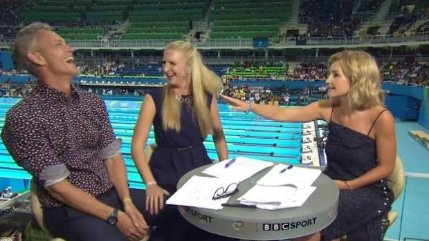 BBC Olympic swimming presenter Rebecca Adlington touched co-host Mark Foster's thigh again during a