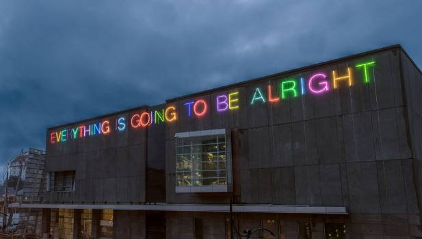 'EVERYTHING IS GOING TO BE ALRIGHT' by British artist Martin Creed was installed on the gallery's Worcester Blvd facade.