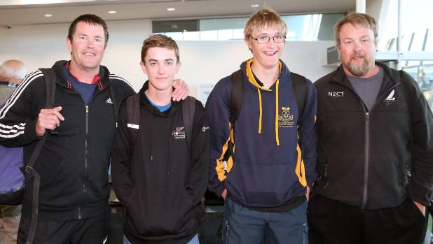 Marlborough sailors Nick Williams, with father Chris, left, and Nick Gardiner, with his father Ian, right, are pictured ...