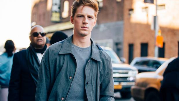 Fencer and model Race Imboden outside New York Fashion Week this year.