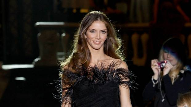 Nathalie Moellhausen walks down the runway during the Alberta Ferretti fashion show.