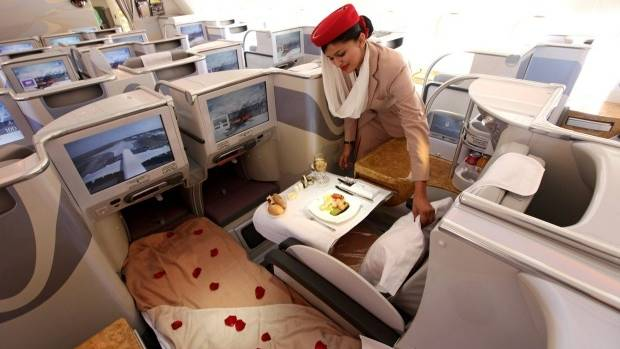 The business class section of an Emirates Airbus A380.