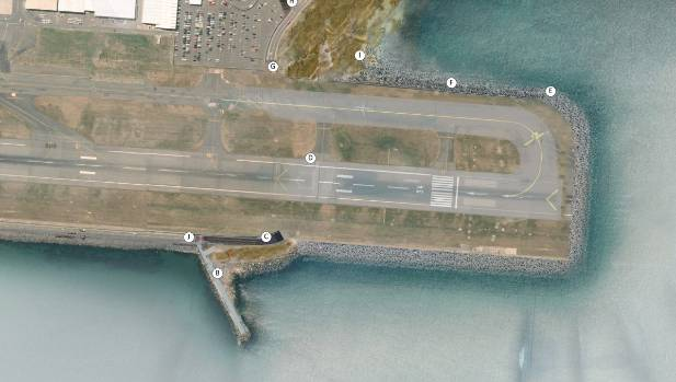 An aerial map of how Wellington Airport's proposed $300 million runway extension would look.