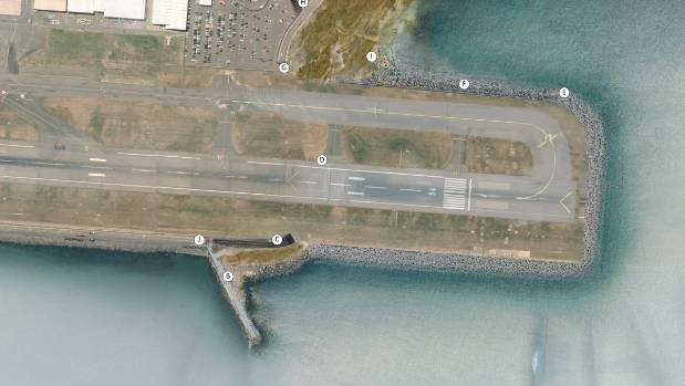 An aerial map of Wellington Airport with the runway extension to the south.