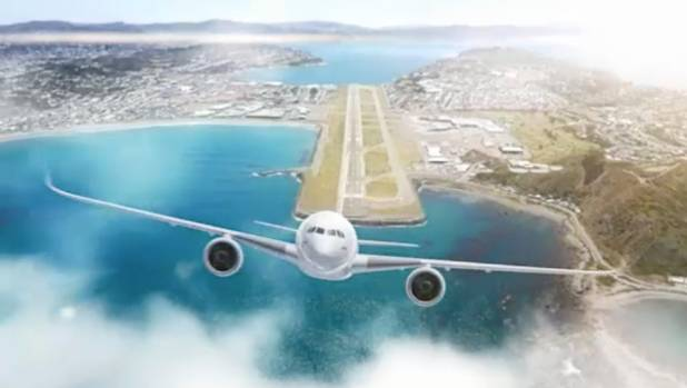 An artist impression of what an extended Wellington Airport runway would look like.