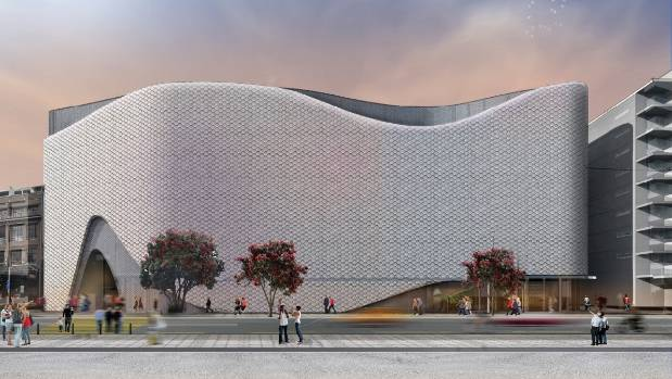 A drawing of the proposed $150m movie museum and convention centre, drawing inspiration from Wellington's position as ...