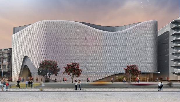 An artist impression of the $150m movie museum and convention centre that Wellington city council has decided to build.
