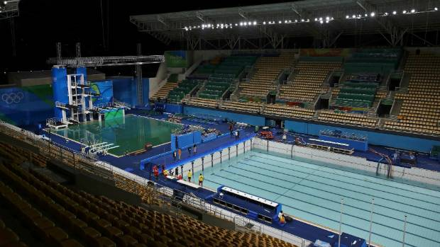the main pool was drained and the water replaced to get rid of the murky green - Olympic Swimming Pool 2016