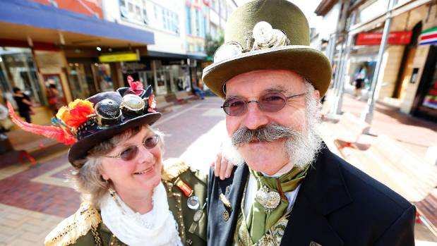 Leslie Craven, organiser of the steampunk world record attempt and his wife Jane, both founders of Capital Steampunk in ...