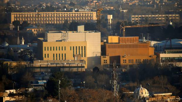 View of the U.S. Embassy (front buildings) in Kabul, Afghanistan.